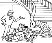 Print scooby falls from stair scooby doo dff1 coloring pages