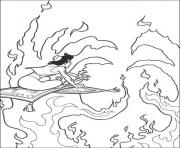 Print aladdin flying through fire disney coloring pages8417 coloring pages