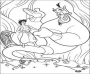 Print aladdin being friends with genie disney coloring pagesc2ee coloring pages