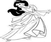 Print jasmine in beautiful dress disney princess sce6b coloring pages