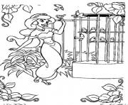 jasmine by the birds cage disney princess saaf5 coloring pages