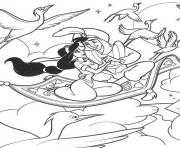 Print cartoon jasmine and aladdin s0307 coloring pages