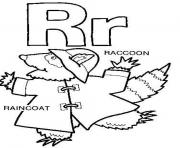 Print raincoat raccoon free alphabet sec32 coloring pages