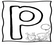 Print big p free alphabet s1a38 coloring pages