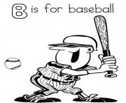 Print alphabet s b is for baseballf014 coloring pages