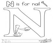 Print words of letter n free alphabet s179e coloring pages