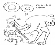 oboe and ostrich alphabet s9bd1 coloring pages