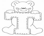 Print cute bear alphabet 1460 coloring pages