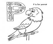 Printable alphabet parrot bird b870 coloring pages