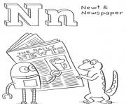 Printable newt and newspaper free alphabet sbc1b coloring pages