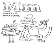 Printable mustaches and monkey free alphabet sdae2 coloring pages