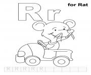 Print r is for rat free alphabet sad6c coloring pages