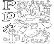 Print p words free alphabet s6040 coloring pages