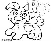 Print puppy free alphabet s7b62 coloring pages