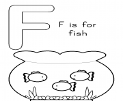 Printable f is for fish free alphabet s433d coloring pages