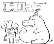 Print hats and hippo alphabet 6edf coloring pages