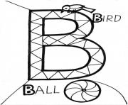 Printable ball and bird alphabet s4395 coloring pages