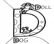 Print dog and doll printable alphabet s9244 coloring pages
