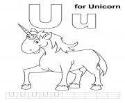 Print u is for unicorn alphabet s freed3ce coloring pages
