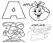 Printable alphabet s printable apple airplane and astronoute3af coloring pages