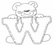 cute bear in w free alphabet sda12 coloring pages