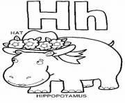 Print hippotamus and hat alphabet 1701 coloring pages