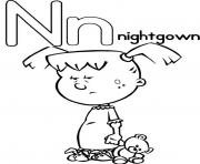 Print nightgown free alphabet s35f6 coloring pages
