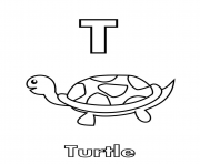 t for turtle alphabet f29c coloring pages