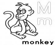 Print m for monkey free alphabet sae98 coloring pages