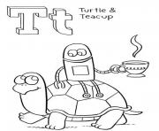 Print turtle and teacup alphabet 1ec6 coloring pages