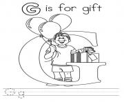 Printable g is for gift s alphabet freeac4d coloring pages
