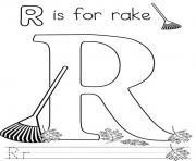 Alphabet coloring pages color online free printable for Rake coloring page