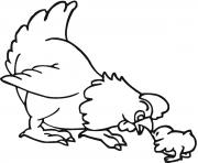Print a little chick and hen farm animal sfd88 coloring pages