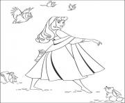 Print aurora and the animals a3cc coloring pages