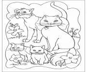 Print family of cats animal s5d6e coloring pages