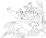 Print arile playing with animal friends little mermaid s5321 coloring pages
