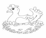Print hen farm animals s098b coloring pages