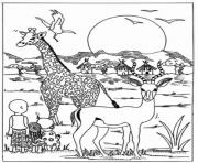 Print giraffe in africa park animal sb81b coloring pages