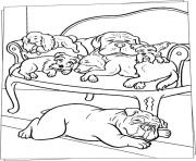 sleeping dogs on sofa animal coloring pagesb46c