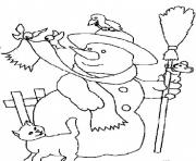 Print snowman and animals s free744b coloring pages
