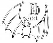 Print bat animal in b alphabet s92d7 coloring pages