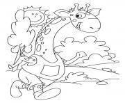 giraffe running animal s2422 coloring pages