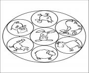 animal farm mandala sc03a coloring pages