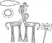 giraffe animal in love animal sbc42 coloring pages
