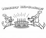 Print cat for birth day animal s942c coloring pages
