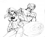 Print Captain America With A Girl 47a3 coloring pages