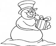 snowman bring a gift christmas df1e coloring pages