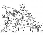 Printable santa decorating christmas tree free s christmas6a80 coloring pages