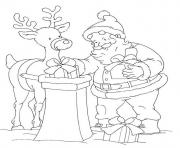 coloring pages of santa claus delivering presents into a pit7878