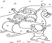kids playing with santa claus s75b5 coloring pages